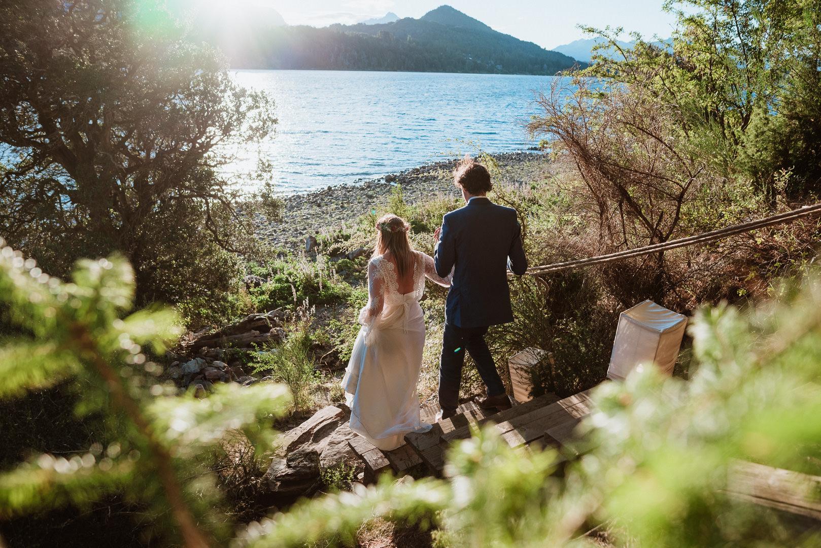 fotos boda a la orilla del lago en bariloche