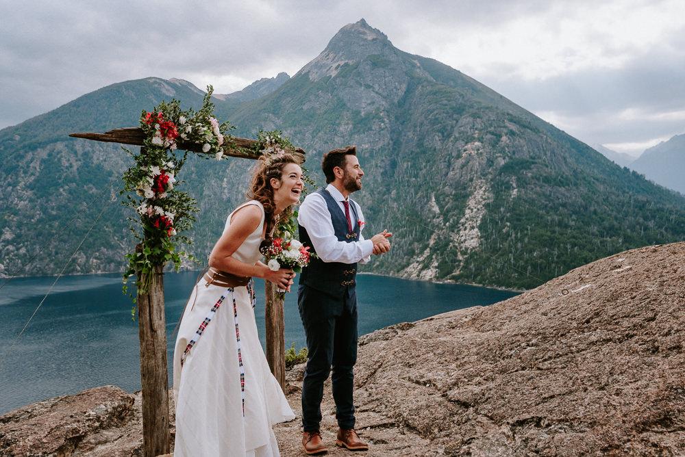 boda de día en el lago bariloche