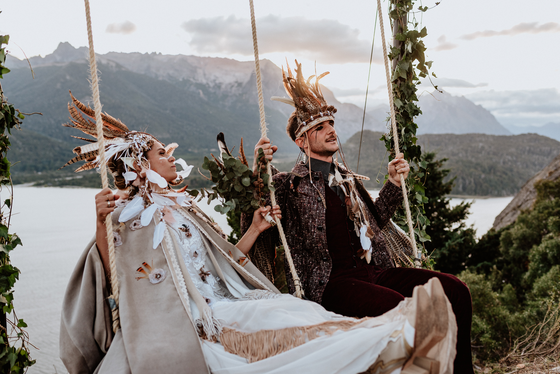 casamiento en la montaña en hamacas
