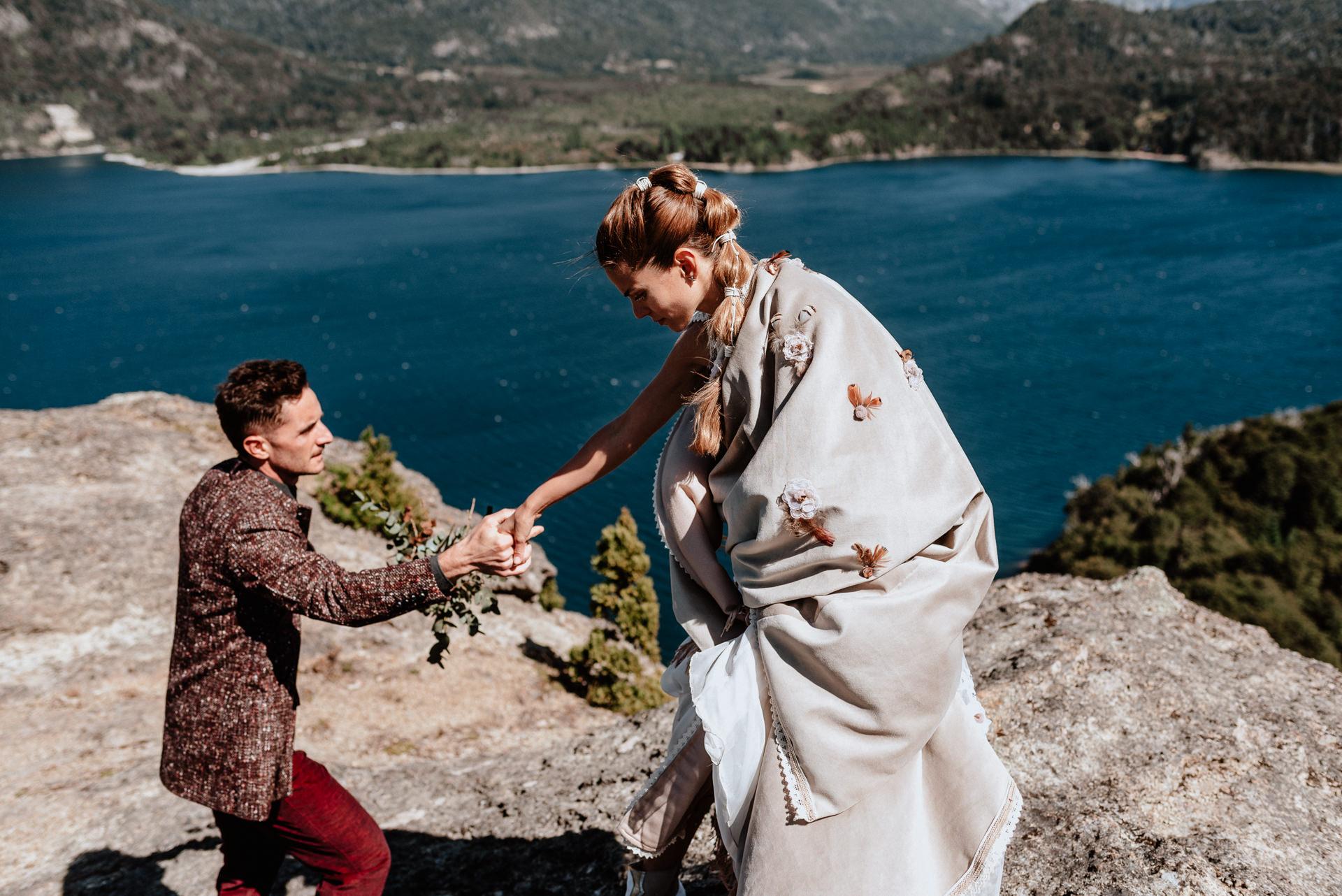 boda en la montaña en patagonia
